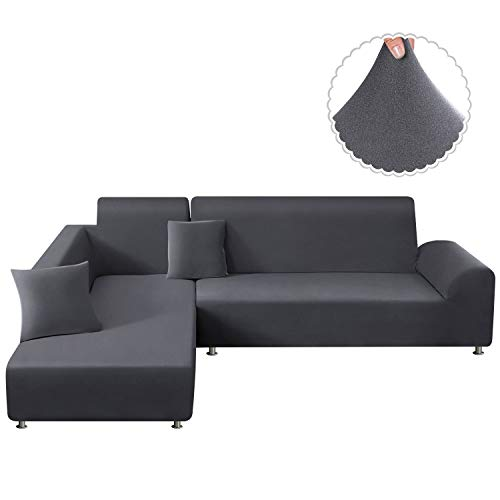TAOCOCO Sofa Slipcover Elastic Sofa Cover Sets L Shape Stretch Furniture Cover Pet Dog Sectional/Corner Couch Covers Thin Velvet L-Type Flexible Sofa Cover 3-seat +3 seat (Light Grey)