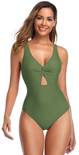 SHEKINI Dames Eendelige Halter Badpak Klassiek Effen kleur Knipsel Verdraaid Bikini Zwempak