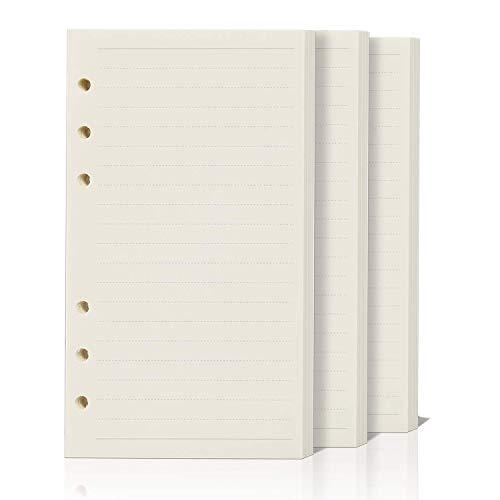 ZKSM 3 Packung Horizontale Linie Papier (insgesamt 135 Blätter) 6 Löcher Nachfüllpapier A5 für Filofax A5, Notizen, DIY, Bullet Journal, Skizze, Malerei, 8,26 x 5,59 Zoll