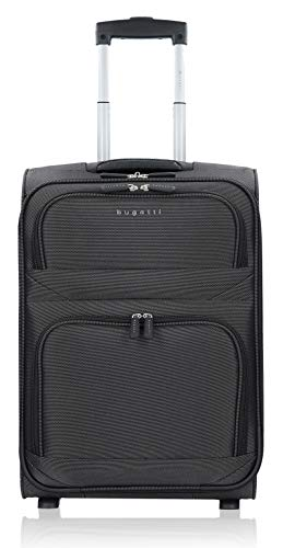 Bugatti Lima Trolley 52cm, Weichgepäck Koffer in schwarz, Kleiner Koffer leicht