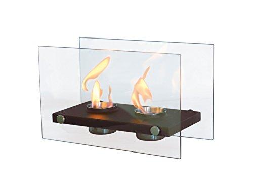 PURLINE ONIROS DUO - Biocamino da tavolo con doppia fiamma e vetro temperato