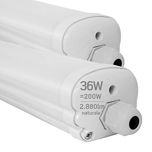 2x Plafoniere LED 36W 120cm Impermeabile IP65 2880 lumen - Forma: Tubo - Luce Bianco Naturale 4000K - Fascio Luminoso 120°