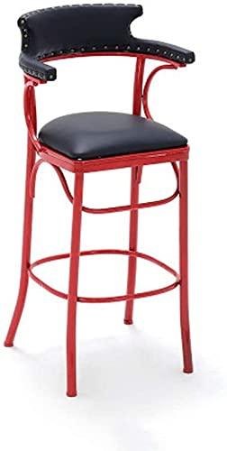 FDGSD Taburetes de Comedor para Desayuno Taburetes de Bar Arte de Hierro Vintage con diseño de Respaldo de Cuero con Remaches Silla de mostrador de Cocina de Pub Industrial Bistro, Taburetes d