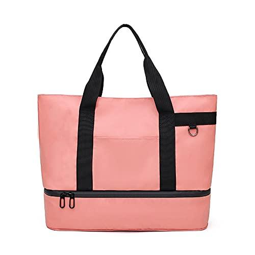 Bolsa de viaje con aislamiento de tela de nailon, bolsa de gimnasio portátil, paquete de hielo unisex, color rosa