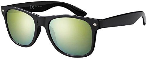 La Optica B.L.M. Herren Sonnenbrille UV400 CAT 3 Damen Unisex Retro Vintage - Glänzend Schwarz (Gläser: Gelb Verspiegelt)