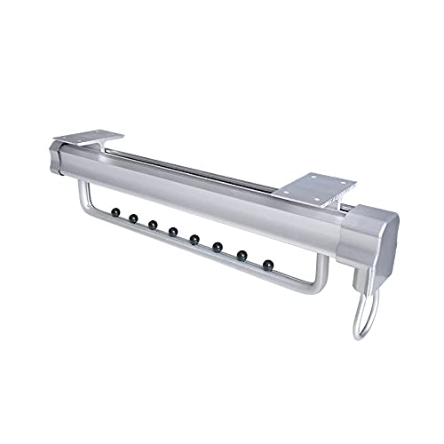 Estante de secado extraíble, riel de armario ajustable, suspensión de riel de amortiguación de riel doble con riel deslizante de bola, estante de almacenamiento expandible para guardarropa, blanco