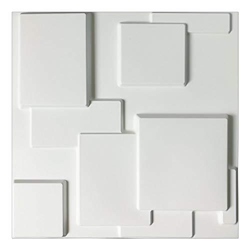 Art3d Decorative Tiles 3D Wall Panels for Modern Wall Decor, White 2.97 Sq Meter(12-Pack)