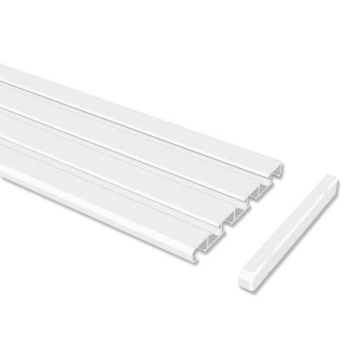 INTERDECO Gardinenschienen Weiß 3-/4-läufige Vorhangschienen aus Aluminium, Slimline, 260 cm