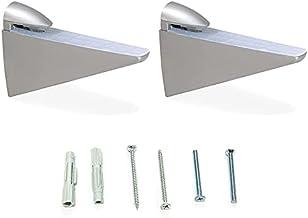 Emuca 4009225 paar plankdragers model Halcon voor rekken in hout/glas/kristal met dikte 8-40 mm uitvoering aluminiumkleur ...