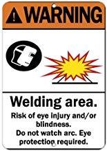 Señal de advertencia Kysd43Mill para protección de los ojos y áreas de soldadura, signo de advertencia de riesgo de lesiones, señal de advertencia de aluminio de metal, letrero de propiedad privada, placa decorativa de metal
