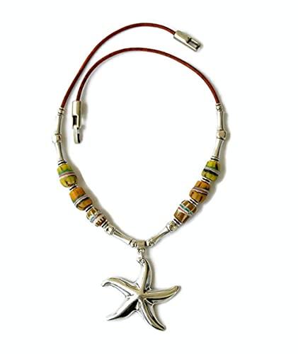 Gargantilla amarilla handmade con colgante plata estrella de mar, regalo para mujer