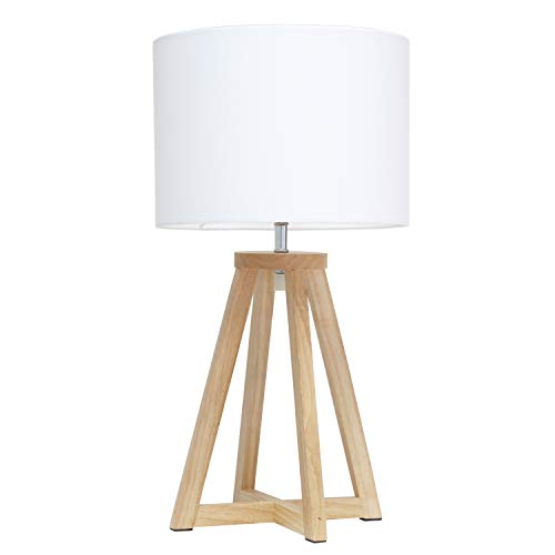 Simple Designs LT1069-NWH Interlocked Triangular Wood Fabric Shade Table Lamp, Natural/White