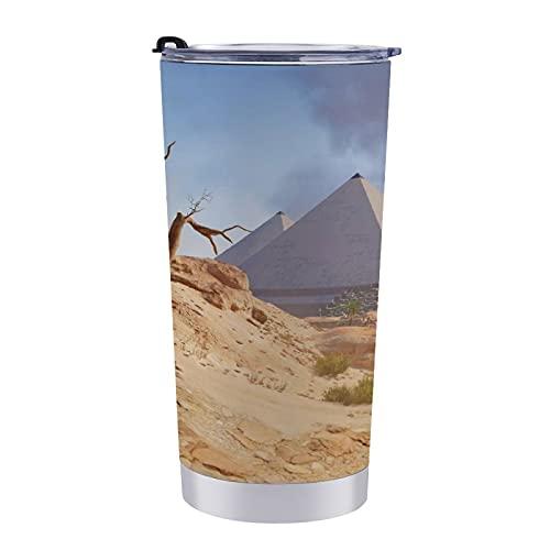 Taza de viaje con diseño de pirámide de Egipto Desert Assassins Creed Origins, vaso de café de 597 ml, para mamá, papá y niños, vacaciones navideñas.