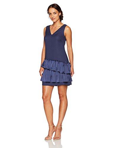 Eliza J Womens Petite V-Neck Dress Pleated Hem Sleeveless Dress - Blue -