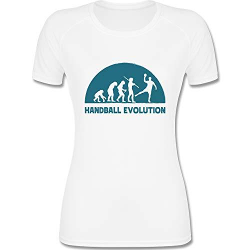 Shirtracer Handball - Handball Evolution dunkelblau - M - Weiß - Hobby - F355 - atmungsaktives Funktionsshirt für Damen