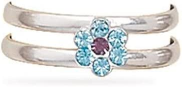 Light Purple and Blue Crystal Flower Toe Ring