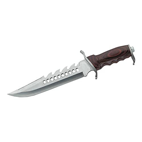 Herbertz Gürtelmesser, Stahl AISI 420, rostfreie Beschläge, Pakkaholz-Griff, Lederscheide, robustes Outdoor-Messer & Jagdmesser, Survivalmesser mit feststehender Klinge