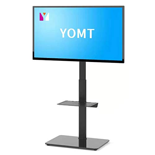 YOMT Floor TV Stand with Mount for Most 27 to 55 inch LCD, LED OLED TVs,Swivel Small TV Stand for Bedroom,Living Room and Corner,Black