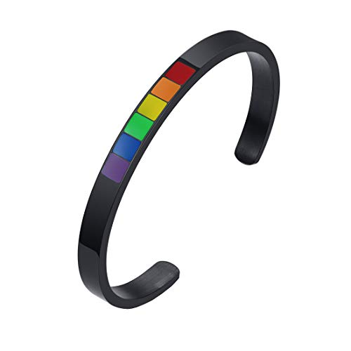 HIJONES Stainless Steel LGBT Bracelets Pride Rainbow 65MM C Bangle for Gay & Lesbian Love Wristbands Couples Black