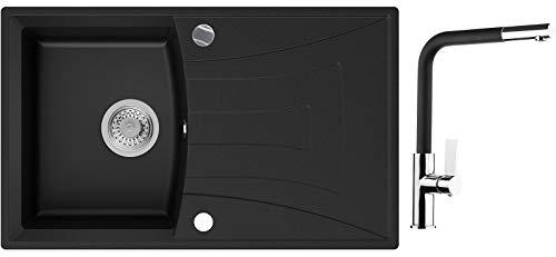 Einbauspüle Schwarz 77 x 47 cm, Spülbecken + Wasserhahn Küche + Siphon Automatisch, Granitspüle ab 45er Unterschrank in 5 Farben mit Armatur Varianten, Küchenspüle von Primagran