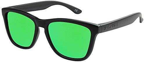 X-CRUZE 9-013 Gafas de sol Nerd polarizadas estilo Retro Vintage Unisex Caballero Dama Hombre Mujer Gafas - negro mate/verde tipo espejo