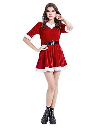 Feynman Weihnachtsmann Kostüm Damen Minikleid Rock Frauen Weihnachten Anzug, M
