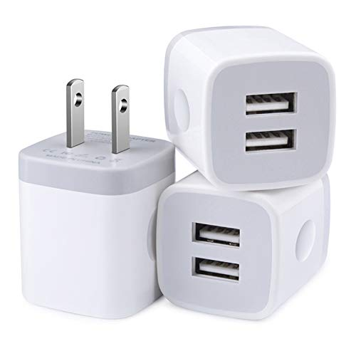 Charger Box, Wall Charger, Dual USB Phone Charger Adapter, 2.1 amp USB Plugs 3 Pack Wall Plug in Fast Charging Blocks for iPhone 12 11 Pro Max XS XR X SE 8 7 6S Plus Samsung Galaxy S21 S20 Note 21 20