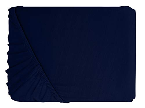#9 npluseins Kinder-Spannbettlaken, Spannbetttuch, Bettlaken, 70×140 cm, Navyblau - 2