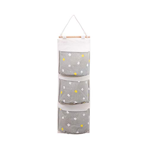 Daringjourney Wall Hanging Storage Bag, Over The Door Closet Organizer Bathroom Hanging Bag Organizer Toys Container Decor Pocket Pouch with 3 Folding Pockets Hanger for Bedroom & Bathroom