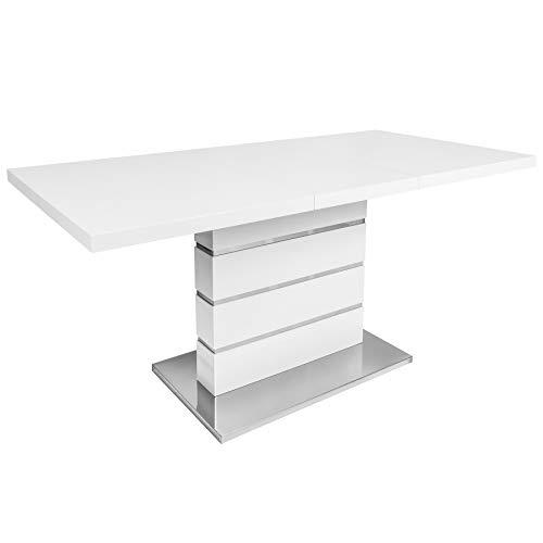 Invicta Interior Design Esstisch Atlantis L weiß Hochglanz 120-160 cm ausziehbar Tisch Küchentisch Konferenztisch