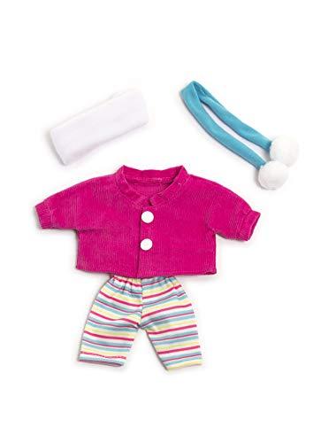 Miniland poppenkleding, 21cm jas, broek, sjaal en hoofdband. 21Cm roze, blauw, wit.
