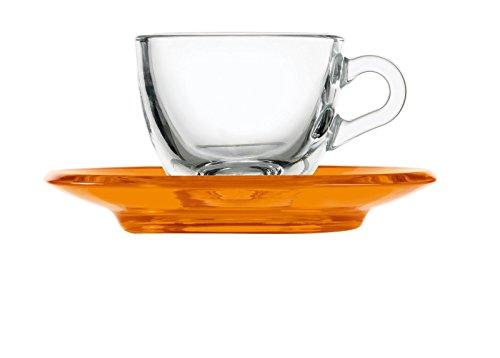 Guzzini Gocce Espressotasse mit Untertasse orange transparent