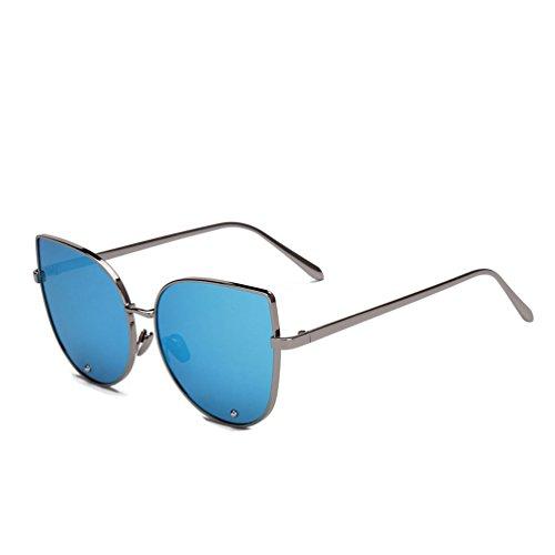 Tansle funda ojo de gato gafas de sol para mujeres Metal marco diamante lente 60mm Azul gris/azul