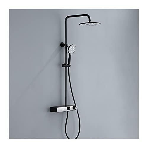WXDL Sistema de Ducha de Lluvia con Grifo De Bañera Conjunto de Ducha con Indicador de Temperatura Mezclador de Ducha Ducha de Mano Set de Ducha,Negro