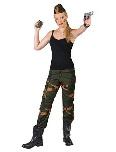 Kostüm Hose Military Damen Größe 40/42 Hose Soldatin Militär Camouflage Tarnfarben Karneval Fasching Pierro's