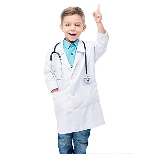 Waflyer Kinder Arztkittel Laborkittel Unisex Weiß Kostüm Chemie Baumwolle Schutzkleidung mit knöpfen und Tasche Junge Mädchen Langarm Laborkittel Medizin Mäntel Uniform...