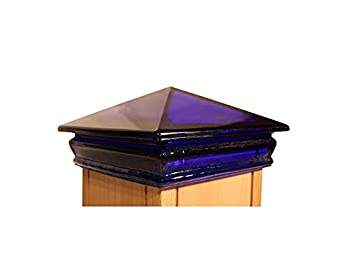 Woodway Glass Pyramid Post Cap fits 3.5  Post in Cobalt Blue 9 pc/case