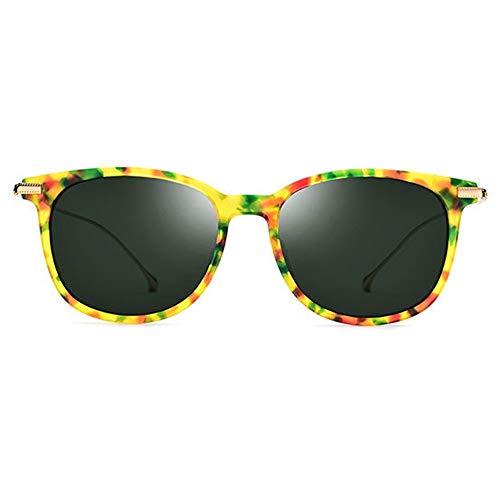 Zhhhk Nuevas Gafas De Sol Polarizadas B De Titanio B Gafas De Moda Ultra Ligeras for Mujer Patrón De Color del Marco Lente De Color Verde Oscuro Protección UV400