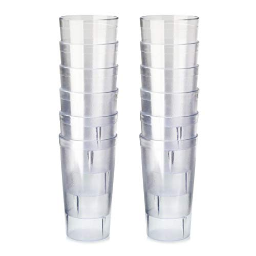New Star Foodservice 46380 Tumbler Beverage Cup, Stackable Cups, Break-Resistant Commercial SAN Plastic, 16 oz, Clear, Set of 12
