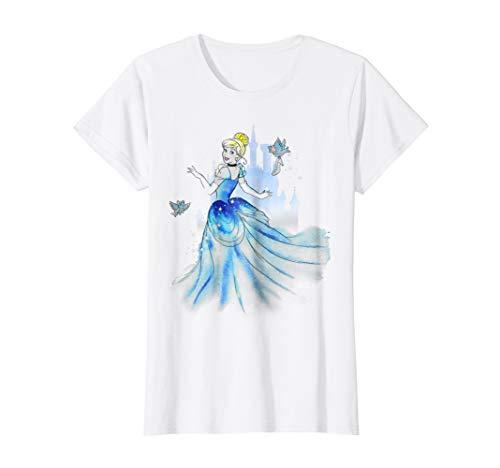 Womens Disney Cinderella Water Color Graphic T-Shirt