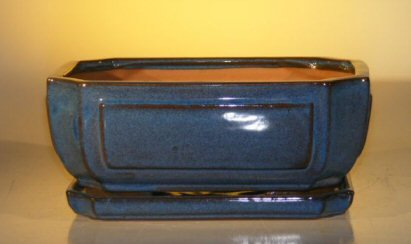 Blue Ceramic Bonsai Pot - Rectangle Professional Series with Attached Humidity/Drip Tray 10.75 x 8.5 x 4.125