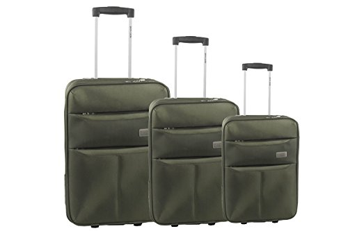 Set valigie trolley 3 pezzi semirigido PIERRE CARDIN verde da viaggio S255