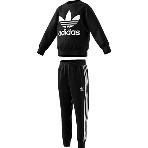 adidas Kinder Crew Set Tracksuit, Black/White, 7-8Y