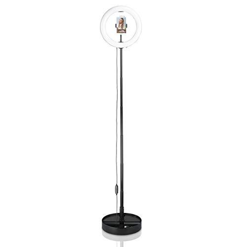Hama LED-Ringlicht mit Stativ und Handy-Halterung (26,5cm Lichtring, Ringleuchte inkl. Bluetooth-Fernbedienung, 3 Farbtemperaturen, 10 Helligkeitsstufen, passend für Youtube/TikTok/Selfies) schwarz