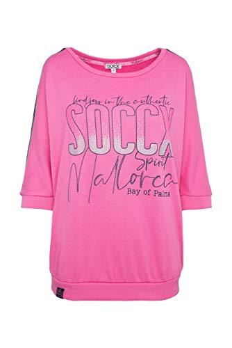 SOCCX Damen Sweatshirt mit Logo und Pailletten-Tape