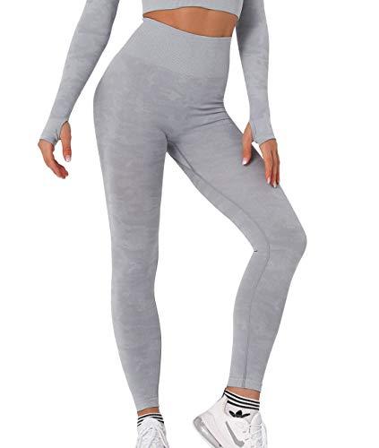 SLIMBELLE Mallas Push up Mujer Leggings Camuflaje Deportivos Pantalones de Cintura Alta de Yoga sin Costuras Corte Leggins Camo para Fitness Pilates Running Gimnasio Casual Elástico y Transpirable