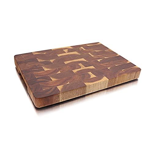 Tabla de cortar de madera de acica de grano de extremo premium con agarre de mano sólido robusto picado picado bandeja de bandeja (Color : A)