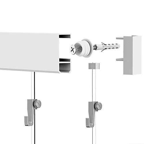 Leha Bilderschienen Galerieschienen Bilderleiste Komplett-Set 3m (2x1,5m) weiß