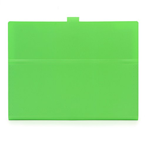 5-Pocket Expanding File with Button Closure, A4 Size Accordion File Folder Organizer Binder Wallet for Paper Projects Cards Bills Receipts Checks Invoice Pouch School & Office Supply, Green Photo #2