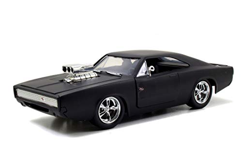 Jada Toys 253203012 Fast & Furious Dom's Dodge Charger Street, Auto, Tuning-Modell im Maßstab 1:24, zu öffnende Türen, Motorhaube und Kofferraum, schwarz